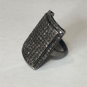Sheryl Lowe silver and genuine diamond ring-Sz 7
